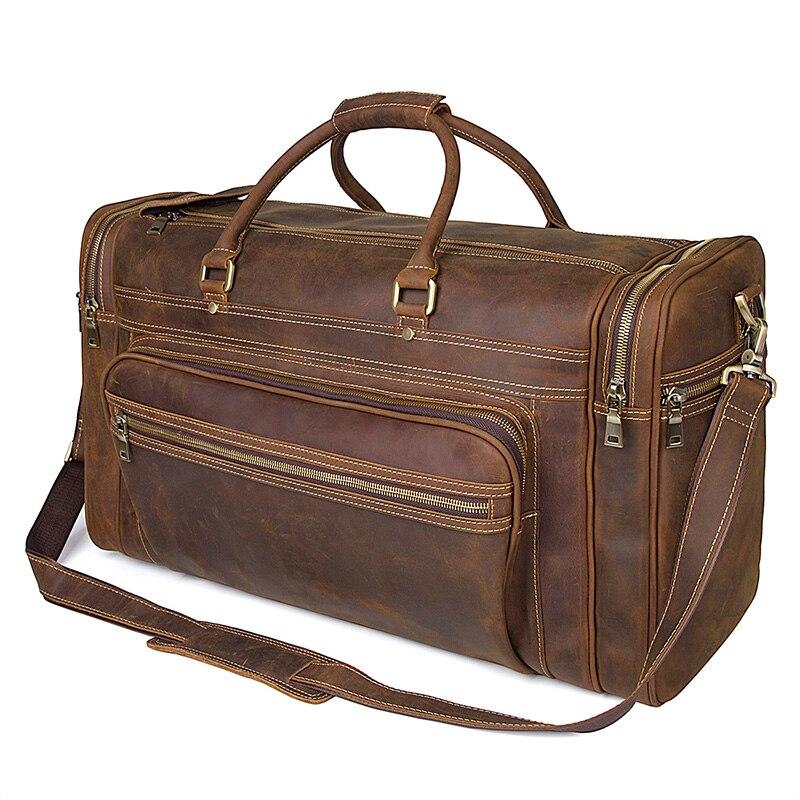 Men Travel Duffle Large Capability Crazy Horse Leather 17