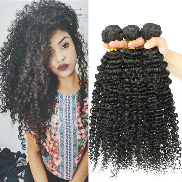Onda profunda Cabelo Brasileiro 3B3C 8A Cabelo Virgem Encaracolado Crespo afro crespo tecer extensões de cabelo humano 3 feixes queen hair produtos