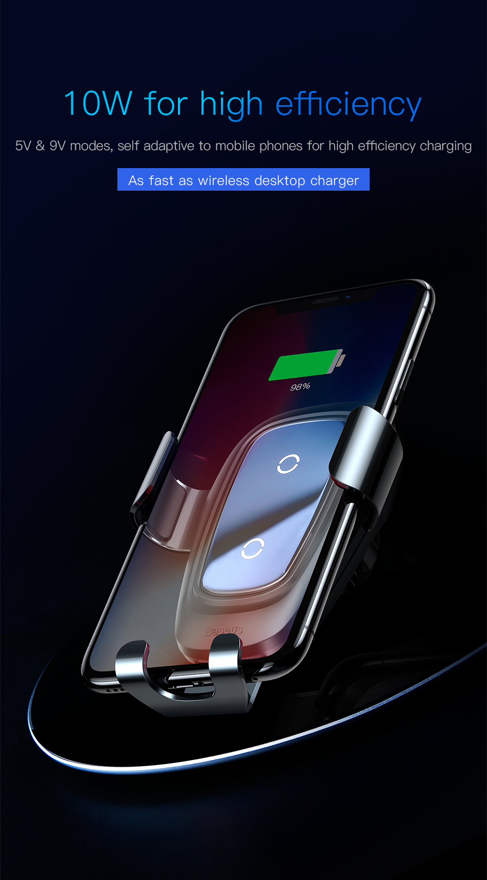 Baseus Qi Wireless Car Charger For iPhone Xs Max X 10w Fast Car Wireless Charging Holder For Xiaomi Mi 9 Mix 3 2s Samsung S10 S9 11