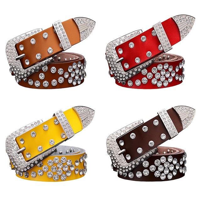 Women's Genuine Leather Belt with Rhinestones