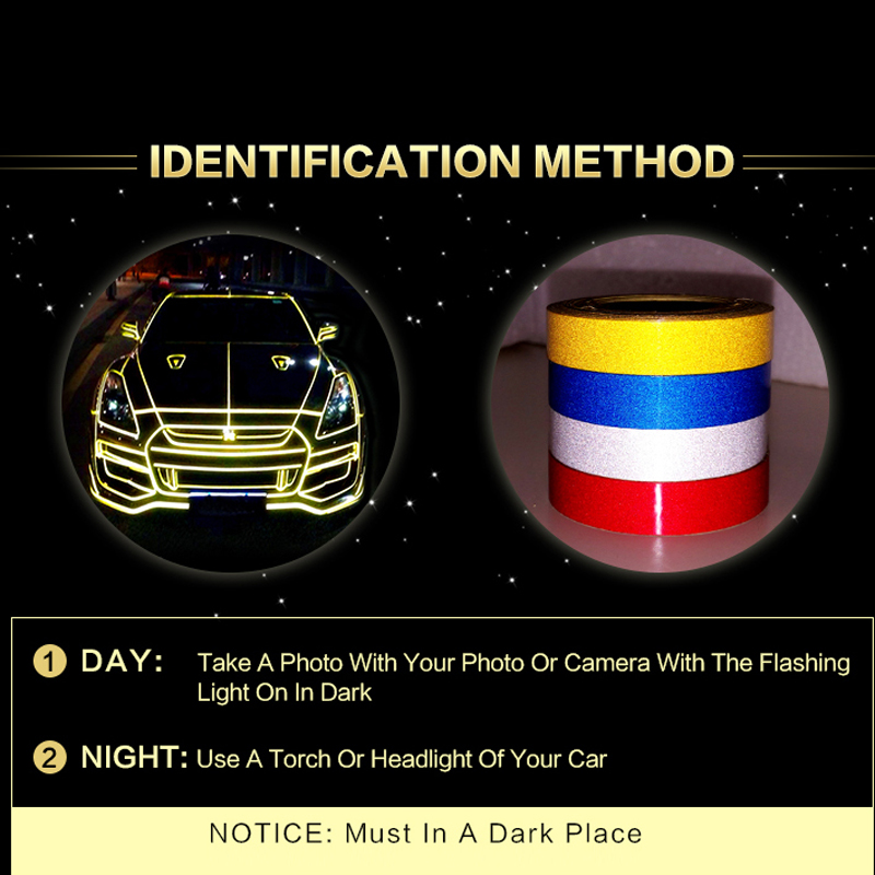Car Sticker 1cm*5m Reflective Tape Reflect Auto Motorcycle Bike Safety Warning