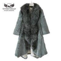 Luxury Fox Fur Coat With Raccoon Collar 100 Real Natural Fox Fur Long Section Fashion Fur