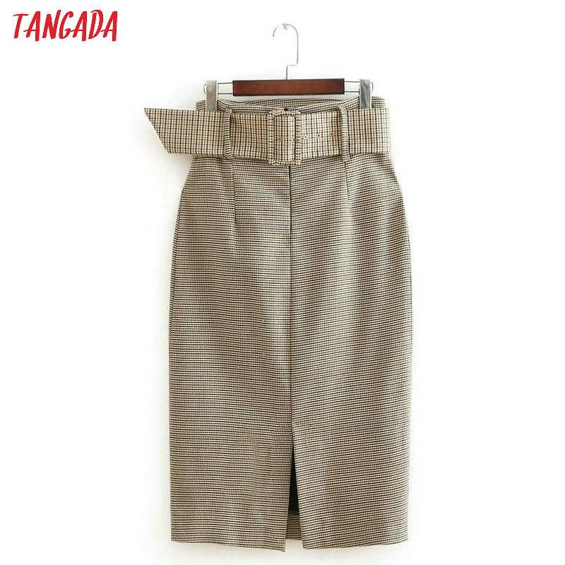 Tangada fashion women plaid skirt vintage work office ladies skirt with belt mujer retro mid calf skirts BE175 10
