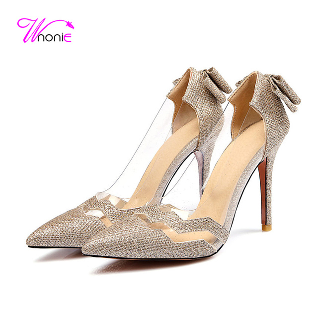d0c8298f7a1424 2017 Fashion Women Basic Pumps High Thin Heel Pointed Toe Glitter PU Leather  Clear Plastic Spring Autumn Party Dress Lady Shoes