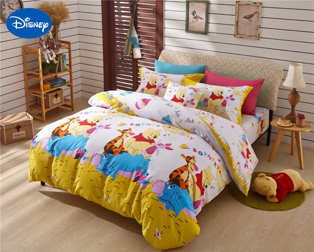 Winnie the pooh tigger piglet print comforter bedding set for Bedding fabric bedding
