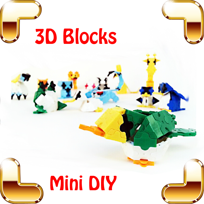 New Arrival Gift 3D Blocks Animal Model Mini Assemble Toys Cute Collection Education DIY Toy Learn IQ Game For Children Kids