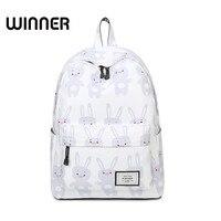 Для женщин милый мультфильм животных печати рюкзак холст кролик Bagpack Bookbag Школьные сумки для подростков Обувь для девочек свежий backbag ноутбу...