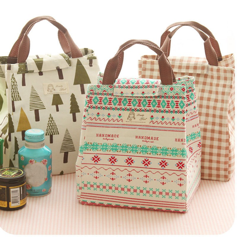 Portable Insulated Thermal Cooler Lunch Box Christmas Patterns Carry Tote Storage Bag Picnic Case