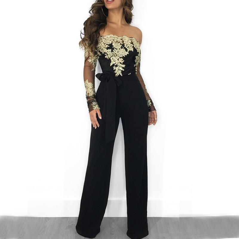 lace embroidery sexy off shoulder backless jumpsuit women body feminino romper bodysuit lace top wide leg jumpsuits long sleeve in Jumpsuits from Women 39 s Clothing
