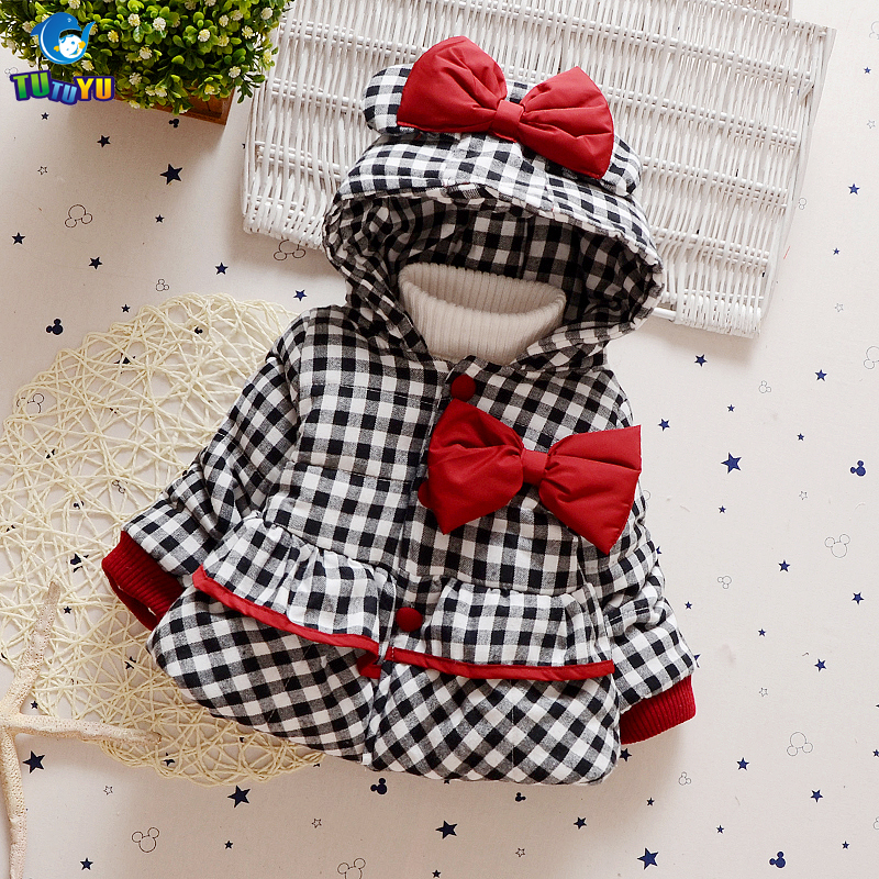 TUTUYU Christmas Baby Children Girls Winter Coat Girls Bow Padded Jacket Warm Cotton Lovely Coat Girl Down Coat Kids Clothing брюки cross sport брюки