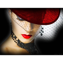 Diamond Painting 5D DIY Full Drill Round Embroidery Sexy Woman Beauty in a Hat Cross Stitch Stickers Needlework