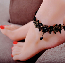 Black Vintage Lace Anklet With Bronze Design