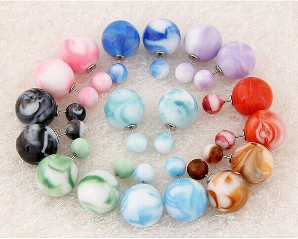 New Arrival 9Candy Colors Korea Design Ball (15*8mm) Earrings Women Double Side Earrings Jewelry Stud Ball  Earring