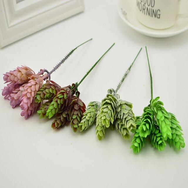 unids seda plstico verde planta hierba pia jarrones para la mesa en casa decora la boda caja de regalo de bricolaje ramo de flores