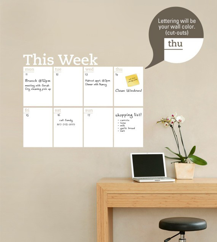 buy new chalkboard weekly planner dry erase calendar modern vinyl wall decal planner mural wallpaper wall stickers size 83x66cm from - Dry Erase Calendar