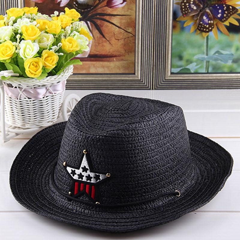 Verano otoño 54 cm niños CAPS cowgirls Sombreros de vaquero para niños  patrón de estrellas paja con cable 251384f79d2