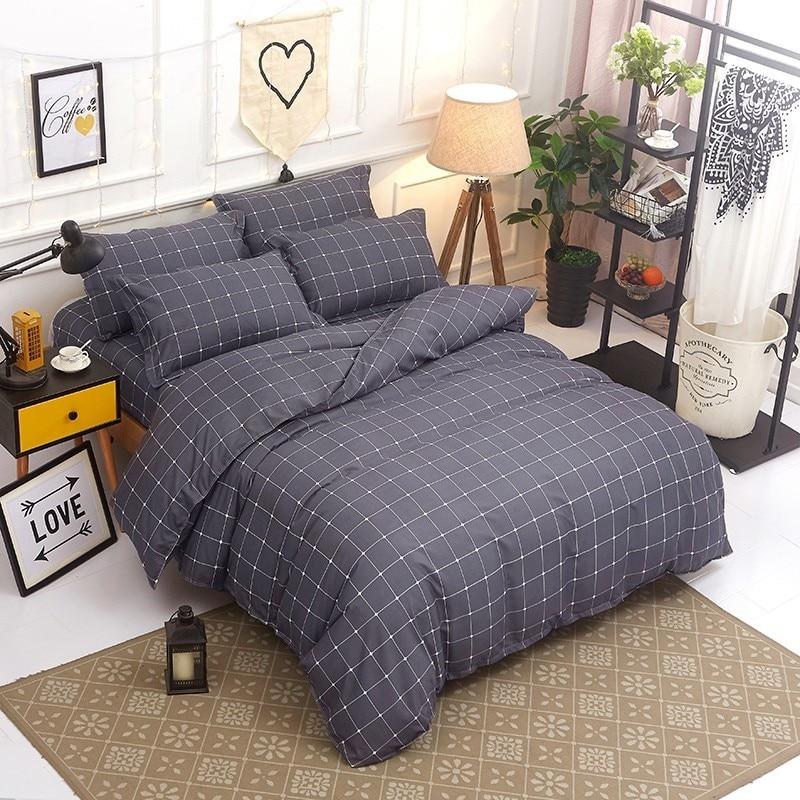 Solstice Home Textile Stripe Lattice Bedding Set For Teen Adults Boy Girl Geometric Duvet Quilt Cover Pillowcase Bed Sheet Linen