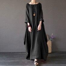 [IASK] 2018 Summer Plus Size Dresses Women 4xl 5xl Loose large hem Dress O-neck White Boho Shirt Dress Long Sleeve Maxi Robe
