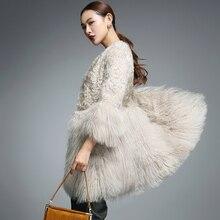 Натуральный мех пальто для Для женщин натуральный мех ягненка с Монголии овечьей шубы rf0093B
