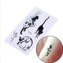 Neue Sexy Schwarz Katzen Temporäre Tattoo Body Art Arm Flash Tattoo Aufkleber 10,5*6 cm Wasserdichte Gefälschte Henna Schmerzlos tatto Aufkleber()
