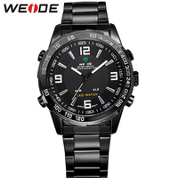 WEIDE Men S Casual Watches Brand Stainless Steel Wrist Band Analog Auto Date LED Quartz Clock