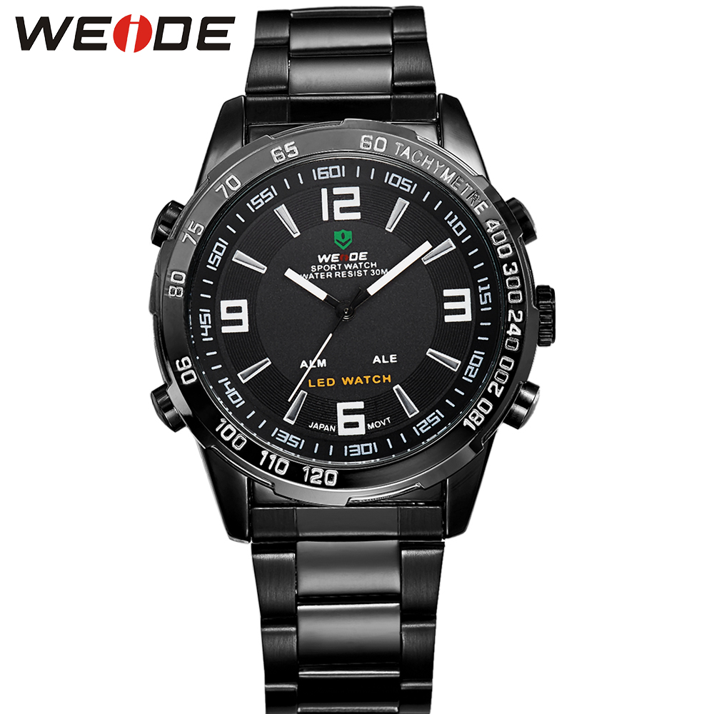 ФОТО WEIDE Men's Casual Watches Brand Stainless Steel Wrist Band Analog Auto Date LED Quartz Clock Movement Popular Products For Mens