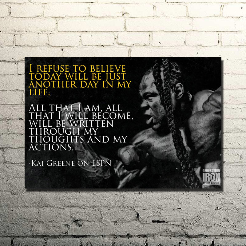 KAI GREENE ON ESPN-Bodybuilding Motivační Citace Silk Poster Tisk 13x20 24x36inch Gym Room Decor Fitness Sport 020