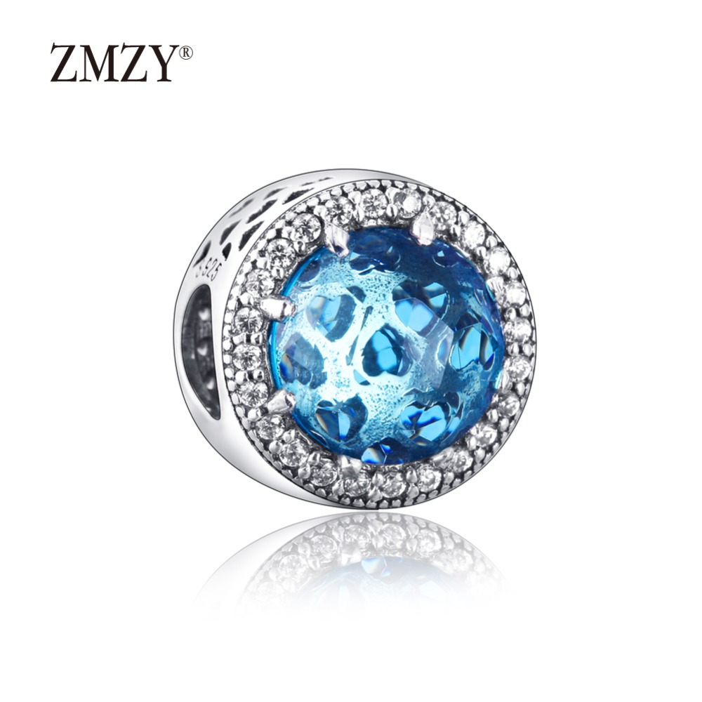ZMZY Authentic 925 Sterling Silver Charms Abstract Lake Blue Crystal Cubic Zirconia Beads Fits Pandora Charm Bracelet Making