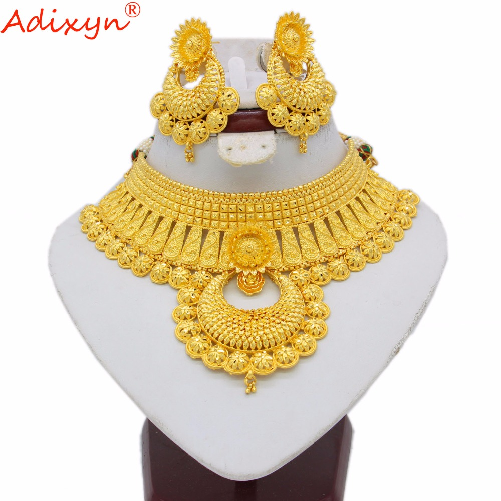 Adixyn Indian Big Heavy Jewelry Sets For Women Gold Color Long Necklace/Earrings African/Dubai/Arab Wedding Jewelry Gifts N06088