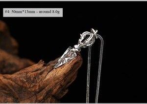 Image 4 - 100% Серебро 925 пробы, тибетская подвеска, ожерелье Dorje, буддистская Ваджра подвеска, Dorje, ожерелье, амулет на удачу, ожерелье, на удачу