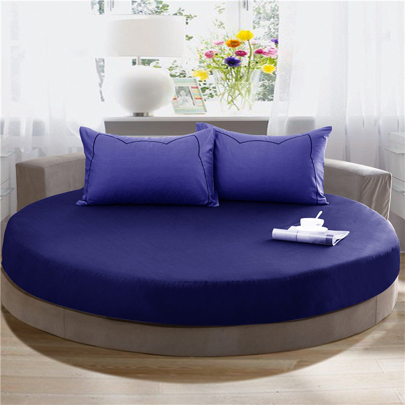 New Style 100% Cotton Fitted Bed Sheet Round Beds Bed Sheet With Elastic  Multi Colors
