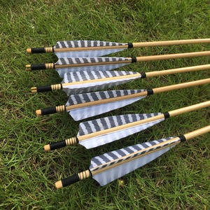 Image 2 - 6/12pcs Chinese traditional wooden arrows  striped shield feathers For Archery