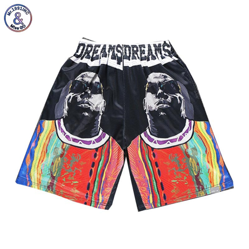 2017 Mr.1991INC New Fashion Mens shorts 3d print Rapper Christopher Wallace Hip Hop 3d beach shorts mesh breathable short pants