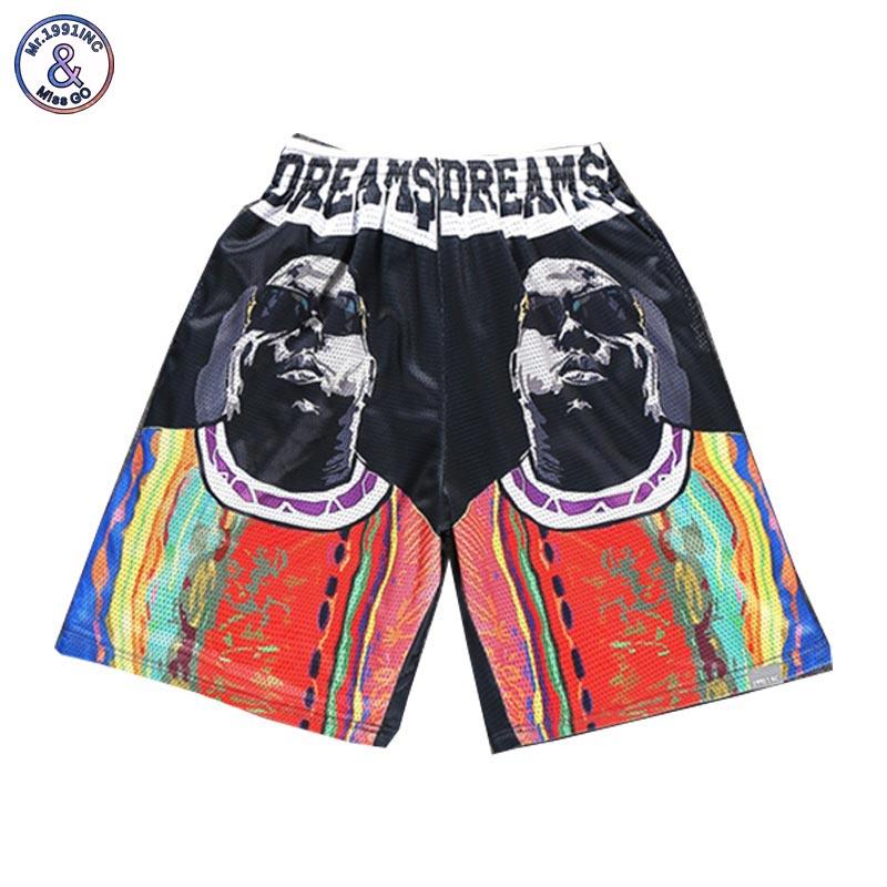2017 Mr.1991INC New Fashion Mens shorts 3d print Rapper Christopher Wallace Hip Hop 3d beach shorts mesh breathable short pants