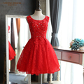 New elegante red lace a-line prom vestidos bandage 2017 sparkly beading curto prom dress