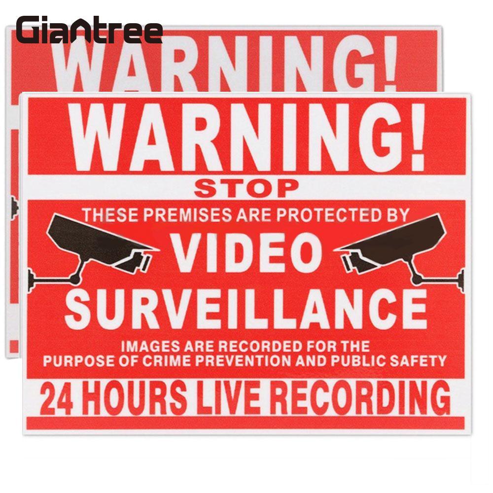 Giantree видео безопасности наклейки безопасности Стикеры Предупреждение знак Премиум легкий Red 13x10 см Товары теле- и видеонаблюдения себя липк... ...