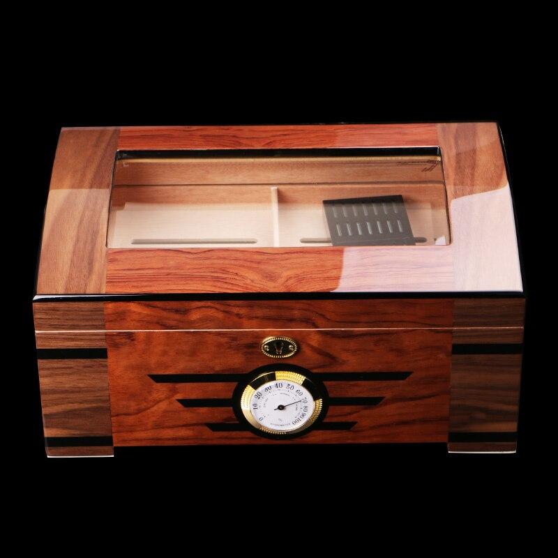 High-end Glass Transparent Skylight Glossy Piano Cedar Wood Cigar Humidor Double-deck Storage Box W/Lock Hygrometer Humidifier