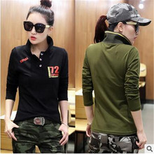 Women's T-shirt Turn-down Collar Sexy Summer Camo long Sleeved Tshirt and Casual Camouflage Shirt Woman Fashion Street Wear