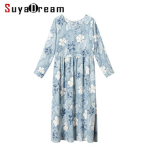 Women Long Dress Luxury 50% Silk 50%Cotton Floral Print O neck dresses 2017 new Fall Winter Light Blue