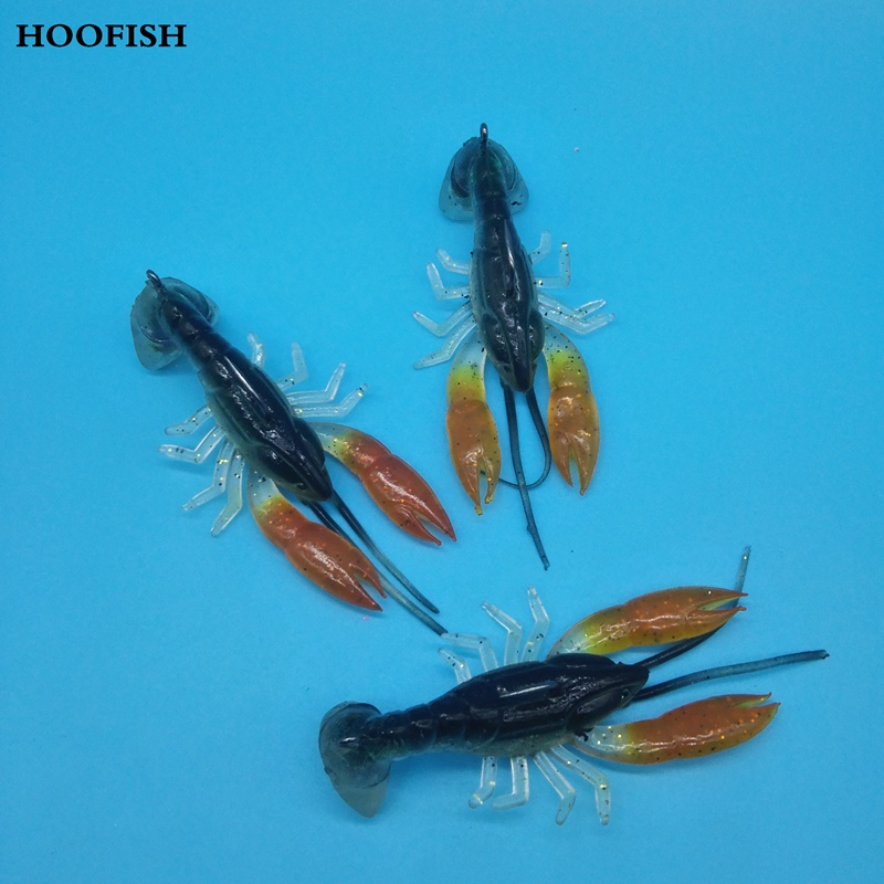 HOOFISH 5pcs+1BOX/lot 7cm/14g  Soft Fake Crawfish   Super realistic lobster  Artificial Lure Bait  fishing tackle