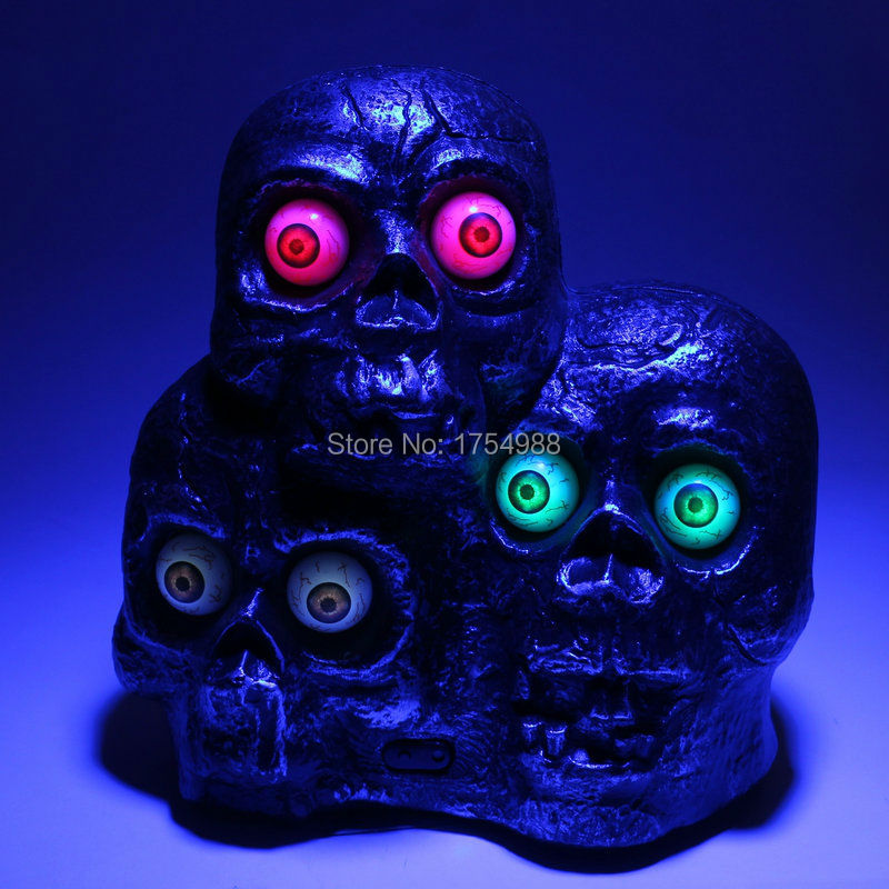 Three head skull sound controll luminous voice skull Horror TAKAGISM game Real life escape room game props Halloween Props