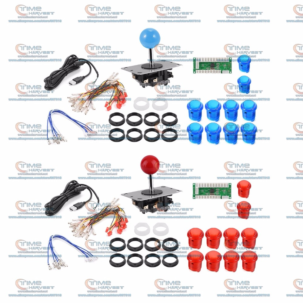 Arcade DIY Bundle Kits with USB Encoder Board support 5V LED Lamp Buttons Arcade Joystick for 2P MAME Control Panel Game Rocker  colarful led ball display rhythm lamp with infrared remote control electronic diy kits soldering kits diy brain training toy