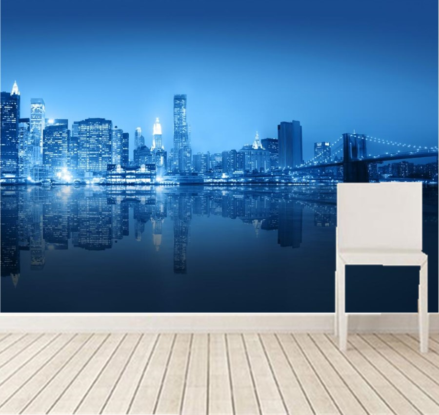 Online Shop Custom Large Mural,Aesthetic New York City Building Bridge  Night View Wallpaper,living Room Tv Wall Bedroom Papel De Parede |  Aliexpress Mobile