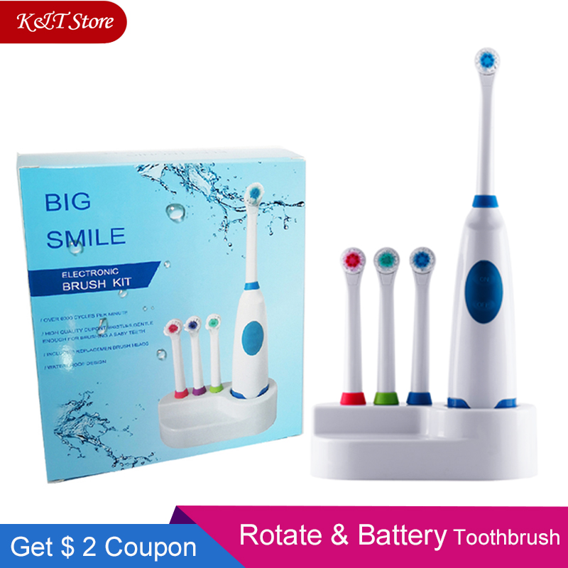 Rotation Battery Electric Toothbrush 4 pcs Replacement Soft Brush Head Revolving Teeth Electric Brush For Family Oral Hygiene image