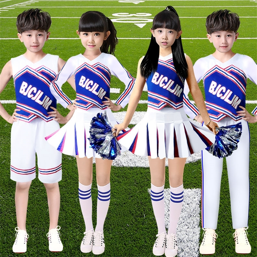 100-180cm Adult Female School Uniform Student Kids Girls Cheerleader Costumes Performance Dance Costumes for Children Boys