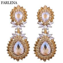 FARLENA Jewelry long Austrian Crystal Chandelier Earrings Bridal Long Drop Wedding Earrings for Women