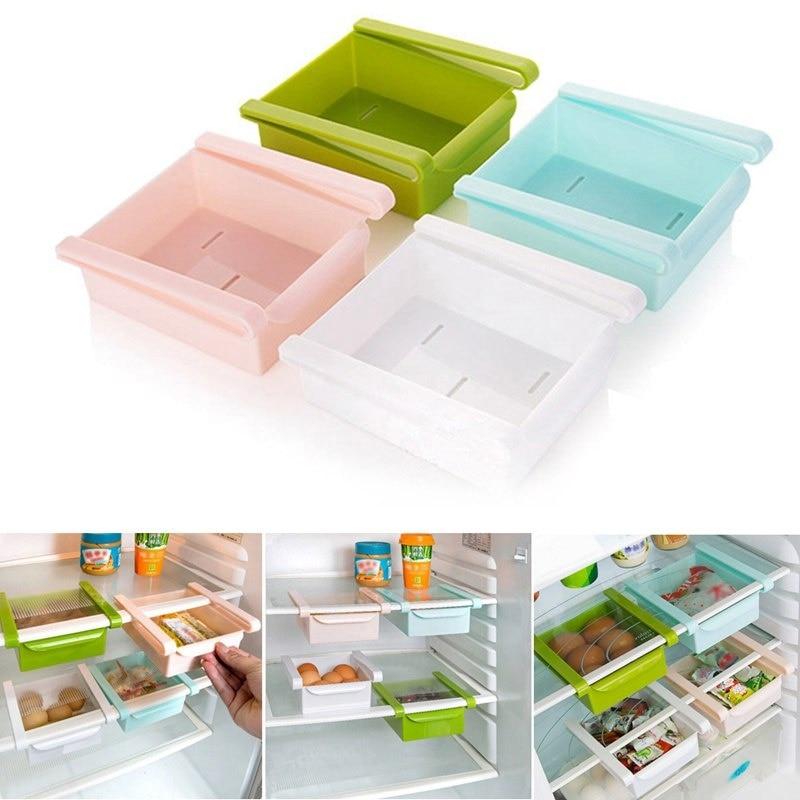 1 PC Hot Sale Slide Kitchen Fridge Freezer Space Saver Organizer Storage Rack Shelf Holde Drawer