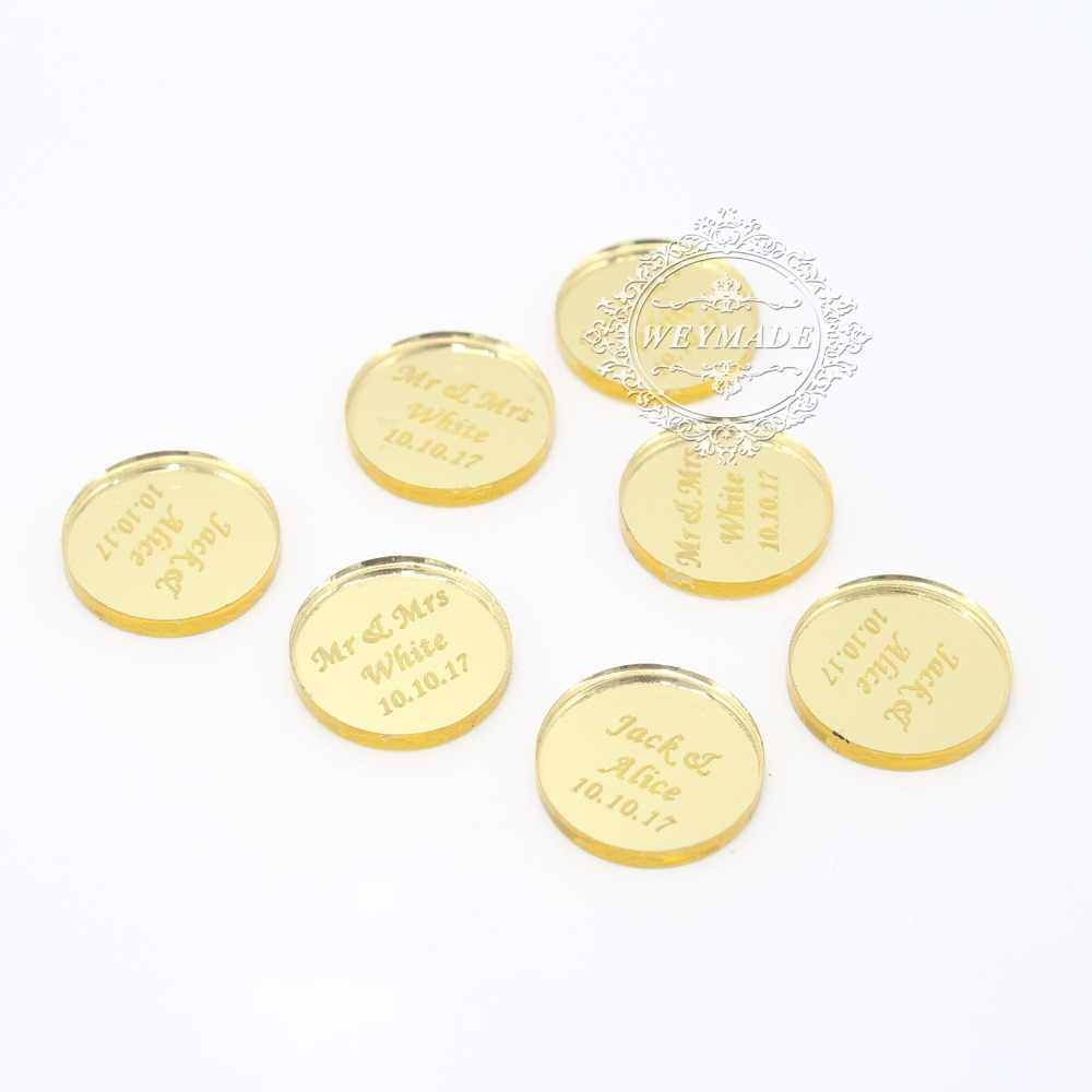 100* Personalized Engraved Couple Name Round Gold Mirror Coin Table  Centerpiece Confetti Decoration Tag For Wedding & Engagement