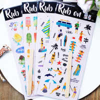 RUB ON. Vacation Series Paper Stickers Set Die Cut For DIY Scrapbooking Bullet Journal Sticker Kits Photo Album Card Making S107