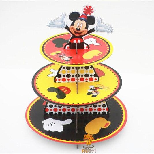 1 set del fumetto di mickey mouse decorazioni festa di compleanno baby shower cartone cupcake stand tenere 24 cupcakes candy bar1 set del fumetto di mickey mouse decorazioni festa di compleanno baby shower cartone cupcake stand tenere 24 cupcakes candy bar